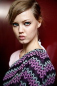 Model Lindsey Wixson backstage at the Missoni show as part of Milan Fashion Week Womenswear Spring/Summer 2014 at on September 22 2013 in Milan Italy