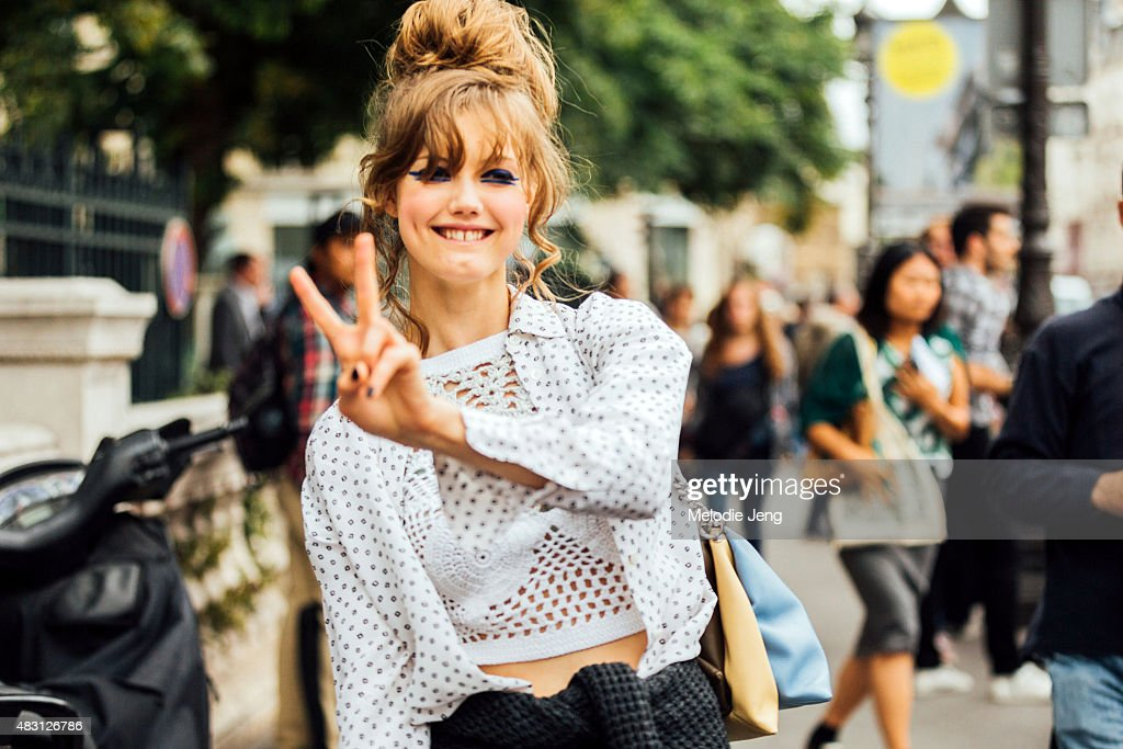 Model Lindsey Wixson exits the Jean Paul Gaultier show on rue SaintMartin on July 8 2015 in Paris France