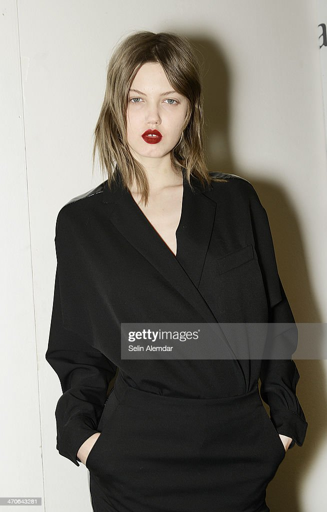 Model Lindsey Wixson poses backstage ahead of Max Mara show during Milan Fashion Week Womenswear Autumn/Winter 2014 on February 20 2014 in Milan Italy