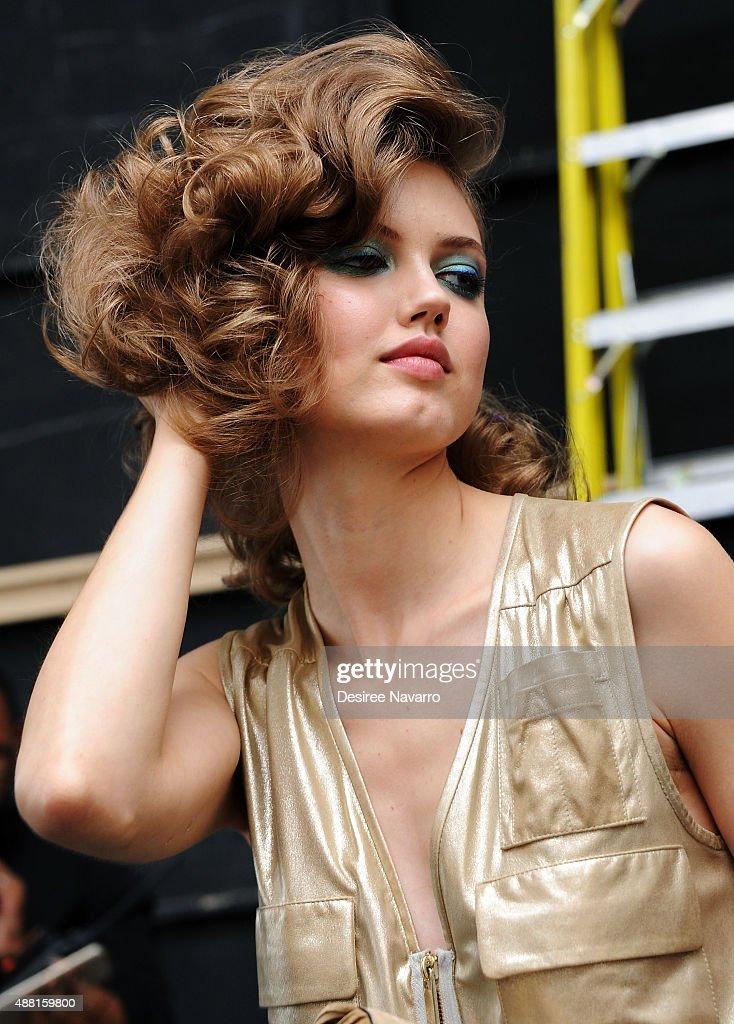 Model Lindsey Wixson poses backstage during Diane Von Furstenberg Spring 2016 New York Fashion Week at Spring Studios on September 13 2015 in New...