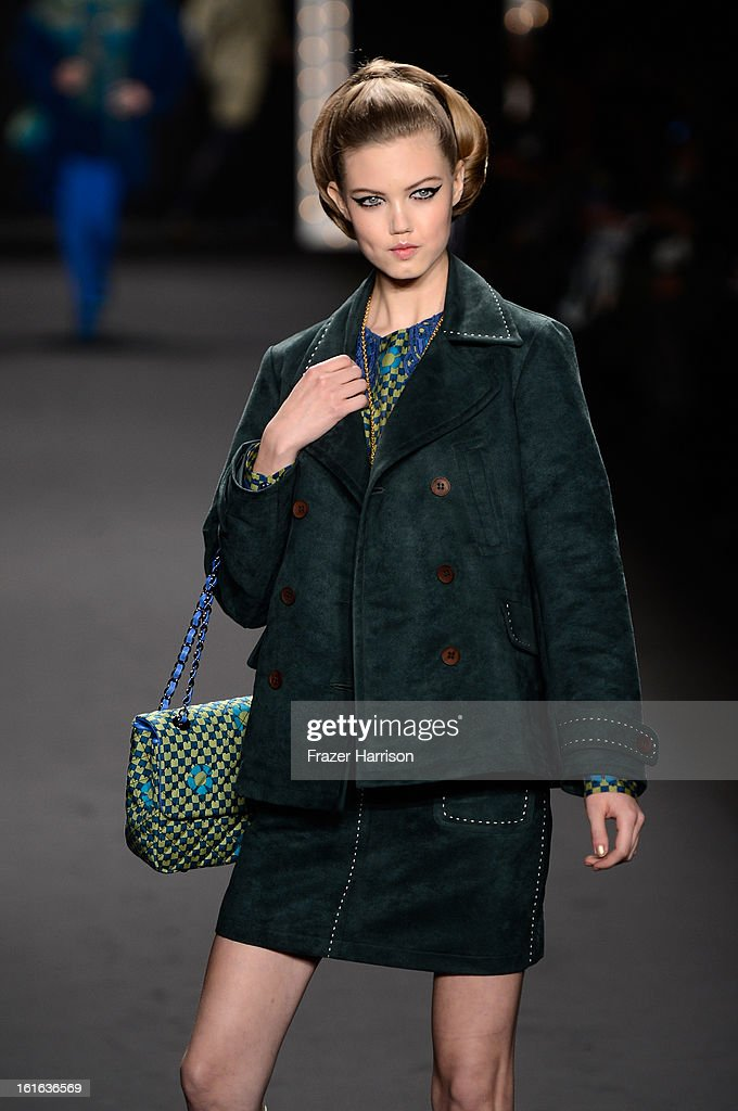 Model Lindsey Wixson walks the runway at the Anna Sui Fall 2013 fashion show during Mercedes-Benz Fashion Week at The Theatre at Lincoln Center on February 13, 2013 in New York City.