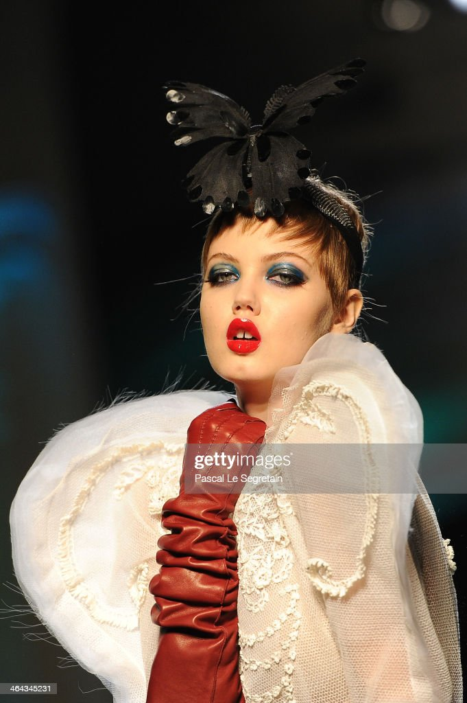 Model Lindsey Wixson walks the runway during Jean Paul Gaultier show as part of Paris Fashion Week Haute Couture Spring/Summer 2014 on January 22...