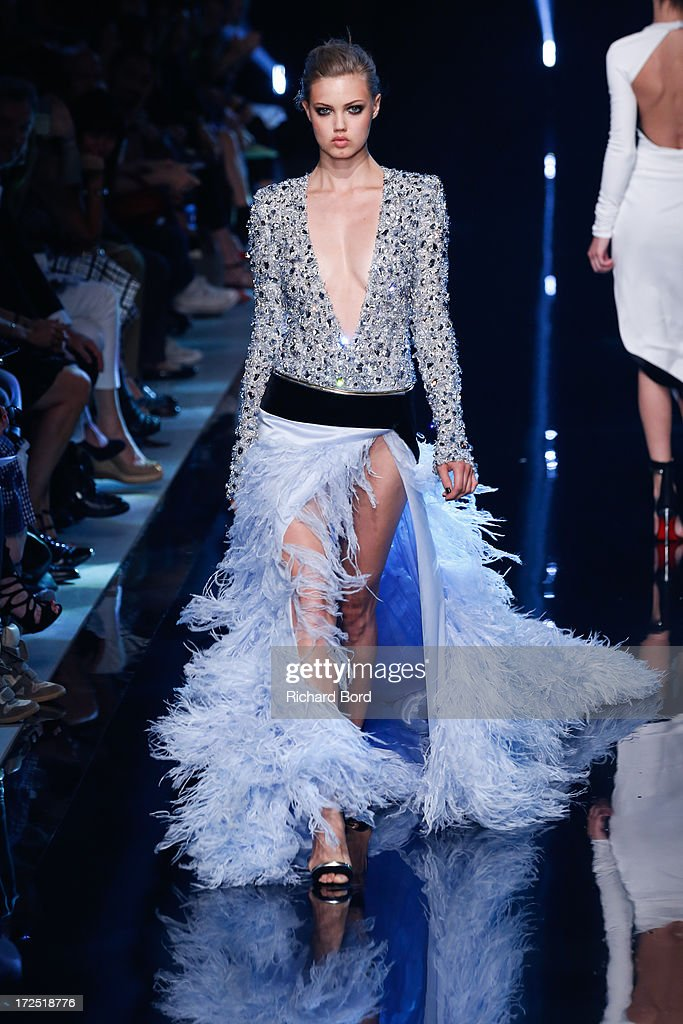 Model Lindsey Wixson walks the runway during the Alexandre Vauthier show as part of Paris Fashion Week Haute-Couture Fall/Winter 2013-2014 at Palais De Tokyo on July 2, 2013 in Paris, France.
