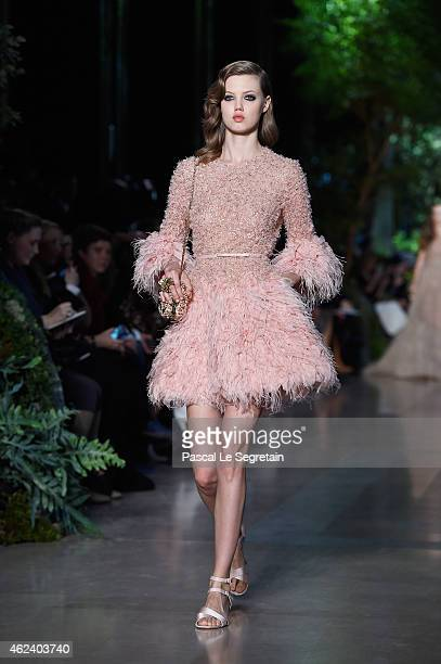 Model Lindsey Wixson walks the runway during the Elie Saab show as part of Paris Fashion Week Haute Couture Spring/Summer 2015 on January 28 2015 in...