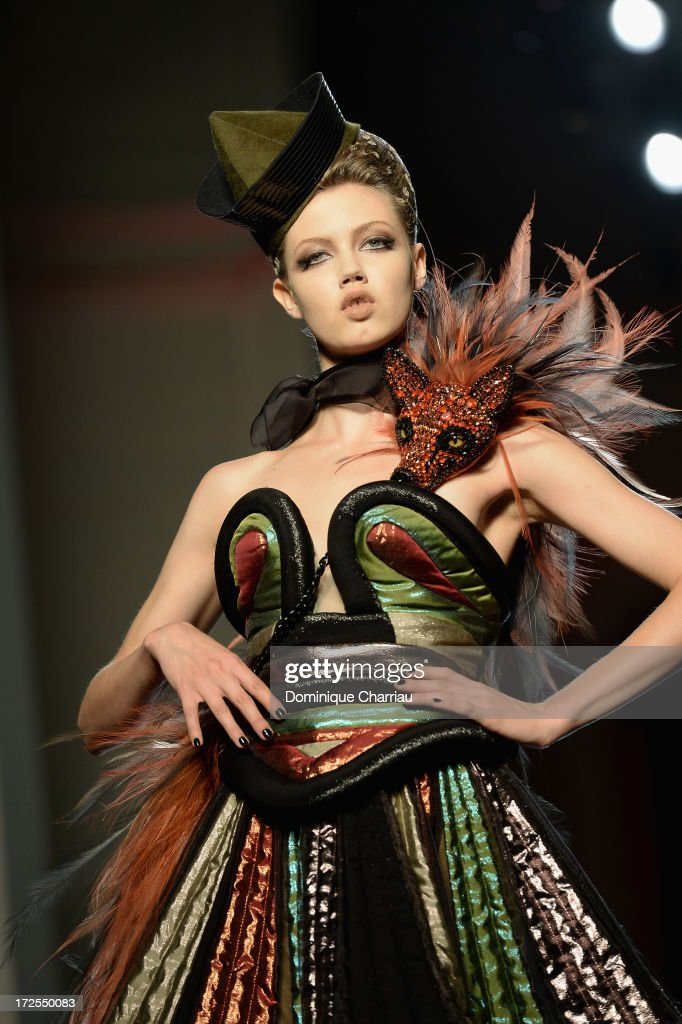 Model <a gi-track='captionPersonalityLinkClicked' href=/galleries/search?phrase=Lindsey+Wixson&family=editorial&specificpeople=6876942 ng-click='$event.stopPropagation()'>Lindsey Wixson</a> walks the runway during the Jean Paul Gaultier show as part of Paris Fashion Week Haute-Couture Fall/Winter 2013-2014 at 325 Rue Saint Martin on July 3, 2013 in Paris, France.