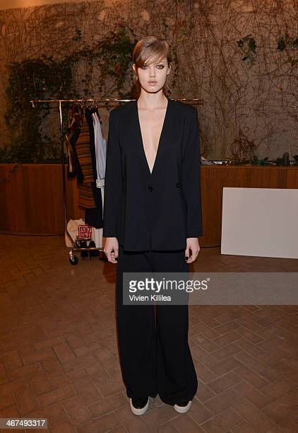 Model Lindsey Wixson wears Rodebjer backstage at the Rodebjer fashion show during MercedesBenz Fashion Week Fall 2014 at Maritime Hotel on February 6...