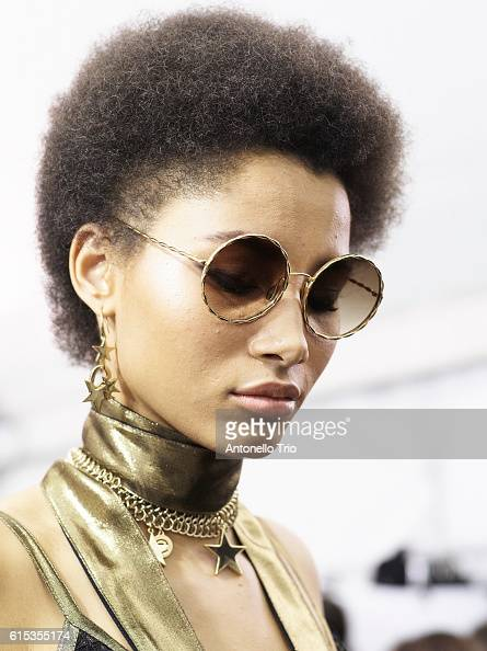 Model Lineisy Montero poses prior the Elie Saab show as part of the Paris Fashion Week Womenswear Spring/Summer 2017 on October 1 2016 in Paris France