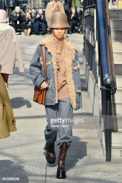 Model Lineisy Montero walks the runway for the Marc Jacobs Fall 2017 Show at Park Avenue Armory on February 16 2017 in New York City