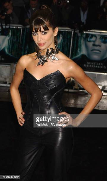 Model Lisa B arriving for the UK premiere of The Matrix Reloaded at the Odeon cinema in London's Leicester Square
