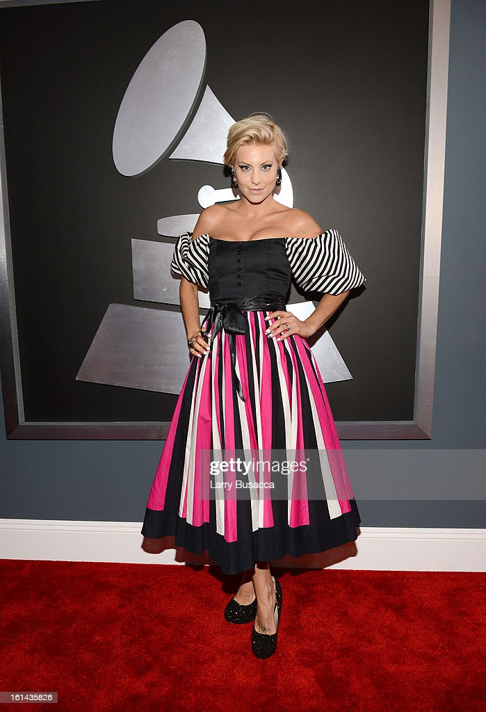Model Lisa D'Amato attends the 55th Annual GRAMMY Awards at STAPLES Center on February 10, 2013 in Los Angeles, California.