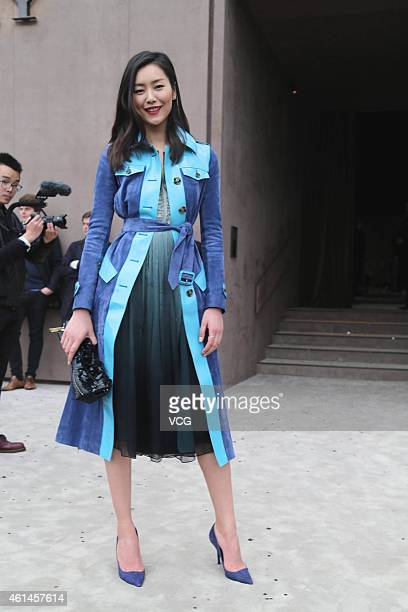 Model Liu Wen attends Burberry Prorsum S/S 2015 Fashion Show on January 12 2015 in London United Kingdom