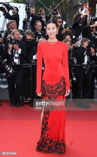 Model Liu Wen attends the 'The Beguiled' screening during the 70th annual Cannes Film Festival at Palais des Festivals on May 24 2017 in Cannes France
