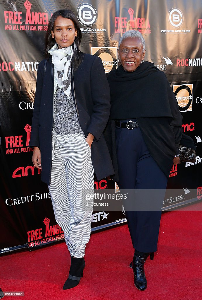Model Liya Kebede and Bethann Hardison attend the 'Free Angela and All Political Prisoners' New York Premiere at The Schomburg Center for Research in Black Culture on April 3, 2013 in New York City.