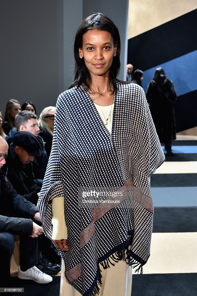 Model, <a gi-track='captionPersonalityLinkClicked' href=/galleries/search?phrase=Liya+Kebede&family=editorial&specificpeople=220361 ng-click='$event.stopPropagation()'>Liya Kebede</a>, attends the Derek Lam Fall 2016 fashion show during New York Fashion Week: The Shows at The Gallery, Skylight at Clarkson Sq on February 14, 2016 in New York City.