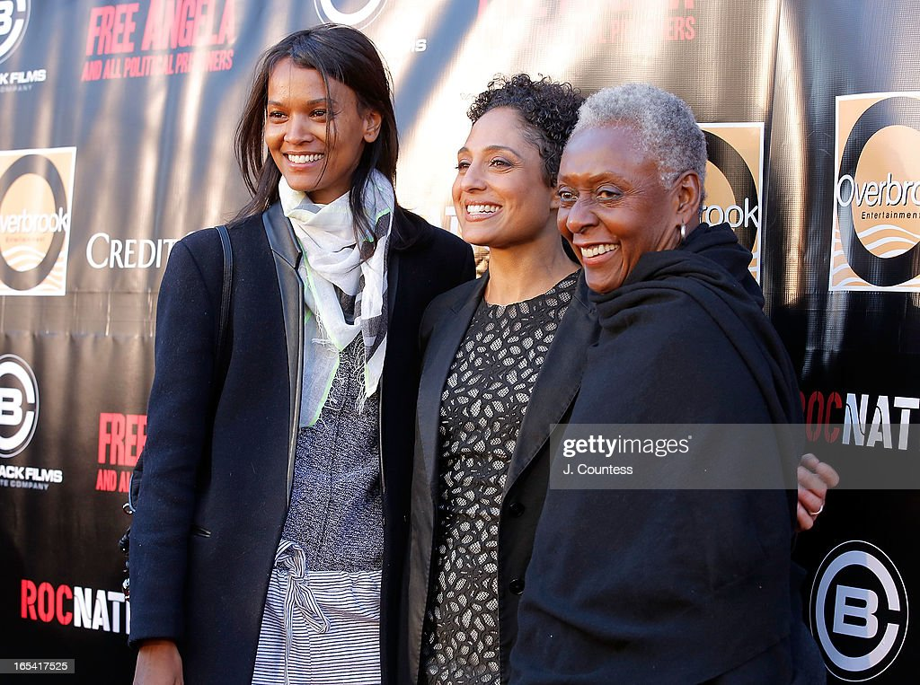 Model Liya Kebede, Director Shola Lynch and Bethann Hardison attend the 'Free Angela and All Political Prisoners' New York Premiere at The Schomburg Center for Research in Black Culture on April 3, 2013 in New York City.