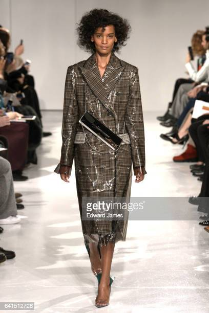 Model Liya Kebede walks the runway during the Calvin Klein Fall/Winter 2017/2018 collection fashion show on February 10 2017 in New York City