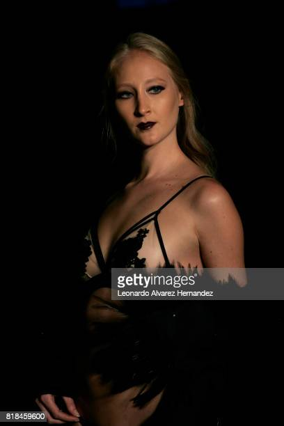 A model looks on during Ellipse Ricardo Seco show as part of IM Intermoda 2017 at Expo Guadalajara on July 18 2017 in Guadalajara Mexico