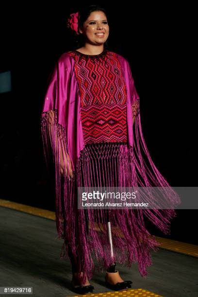 A model looks on during Guatemalan fashion designer Isabella Springmühl show as part of IM Intermoda 2017 at Expo Guadalajara on July 19 2017 in...