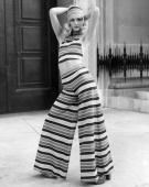 Model Lorain modelling a Lollipop DeckchairStriped Halter top and trousers from the Mary Quant Springwear Collection