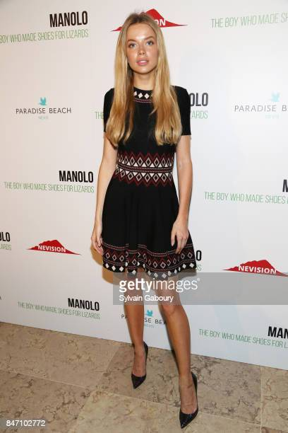 Model Louisa Warwick attends the premiere of 'Manolo The Boy Who Made Shoes for Lizards' hosted by Manolo Blahnik with The Cinema Society on...