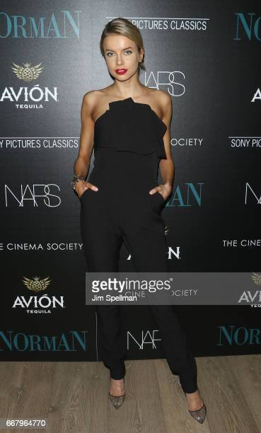 Model Louisa Warwick attends the screening of Sony Pictures Classics' 'Norman' hosted by The Cinema Society with NARS AVION at the Whitby Hotel on...