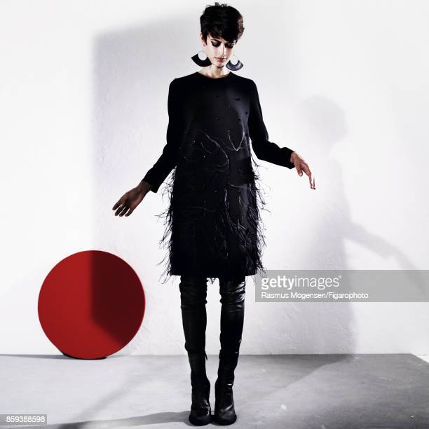 Model poses at a fashion shoot for Madame Figaro on September 6 2017 in Paris France Dress leggings earrings boots PUBLISHED IMAGE CREDIT MUST READ...