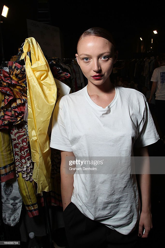 Model Louise Van der Vorst poses backstage prior to the L'Oreal Melbourne Fashion Festival Opening Event presented by David Jones at Docklands on March 19, 2013 in Melbourne, Australia.