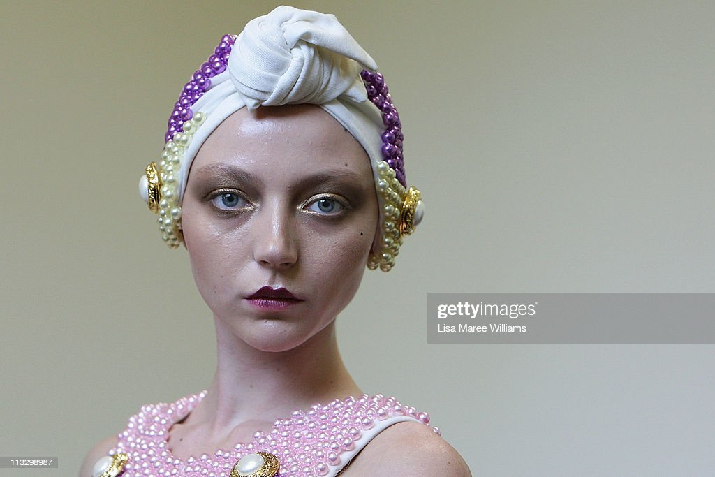 Model Louise van der Vorst prepares backstage during the Romance Was Born Spring/Summer 2011/12 collection launch at the State Library Of New South Wales on May 1, 2011 in Sydney, Australia.