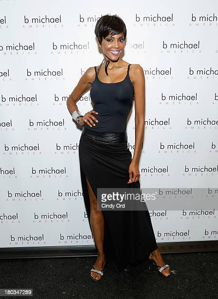 Model Lu Sierra prepares backstage at the B Michael America fashion show during MercedesBenz Fashion Week Spring 2014 at The Studio at Lincoln Center...