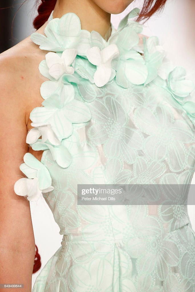 A model, detail, walks the runway at the Ewa Herzog show during the Mercedes-Benz Fashion Week Berlin Spring/Summer 2017 at Erika Hess Eisstadion on June 28, 2016 in Berlin, Germany.
