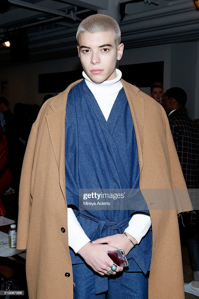 Model Luca Fersko attends the Pyer Moss Fall 2016 fashion show during MADE Fashion Week at Milk Studios on February 13, 2016 in New York City.