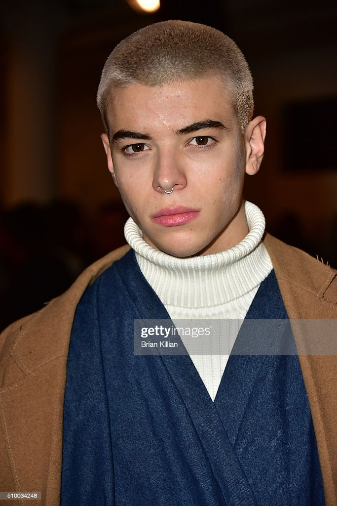 Model Luca Fersko attends the Pyer Moss Fall 2016 show during MADE Fashion Week at Milk Studios on February 13, 2016 in New York City.