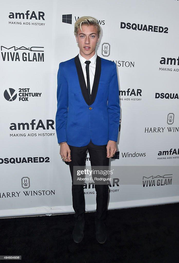 Model Lucky Blue attends amfAR's Inspiration Gala Los Angeles at Milk Studios on October 29, 2015 in Hollywood, California.