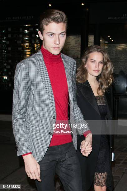Model Lucky Blue Smith and Stormi Bree Henley arrive to attend the 'V Magazine' dinner at Laperouse restaurant on March 7 2017 in Paris France
