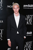 Model Lucky Blue Smith attends a private viewing of Art For Love 32 Photographers Interpret The Iconic Moncler Maya Jacket hosted by Remo Ruffini...