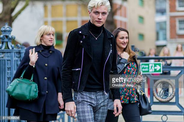 Model Lucky Blue Smith seen outside Topshop during London Fashion Week Autumn/Winter 2016/17 on February 21 2016 in London England
