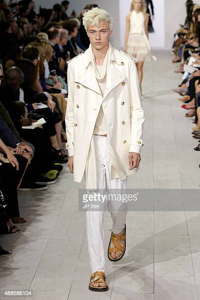 Model Lucky Blue Smith walks the runway at the Michael Kors Spring 2016 Runway Show during New York Fashion Week The Shows at Spring Studios on...