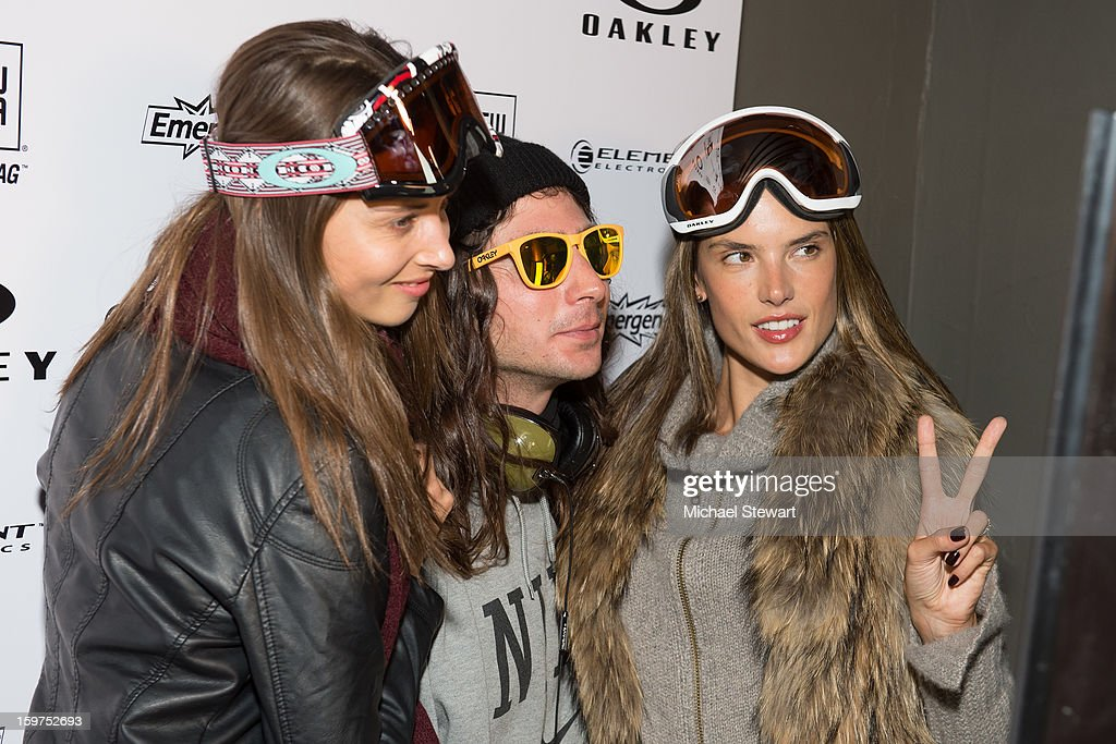 Model Ludi Delfino, snowboarder Danny Kass and model Alessandra Ambrosio attend Oakley Learn To Ride In Collaboration With New Era on January 19, 2013 in Park City, Utah.