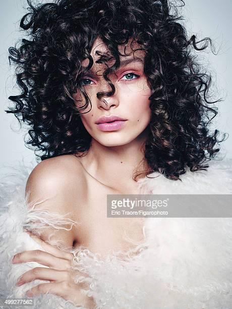 Model Luma Grothe poses for Madame Figaro on July 15 2015 in Paris France Coat Makeup by LOréal Paris PUBLISHED IMAGE