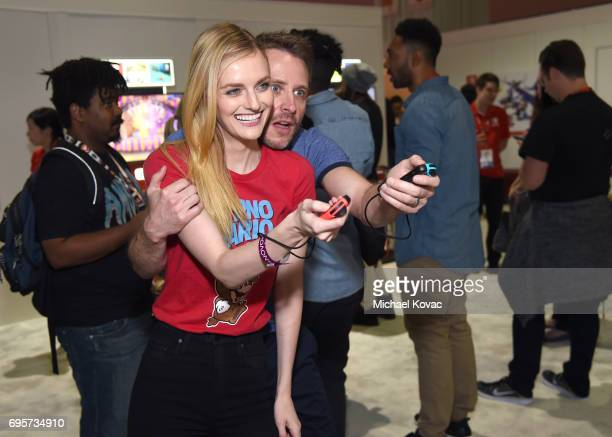 Model Lydia Hearst and comedian Chris Hardwick visit the Nintendo booth at the 2017 E3 Gaming Convention at Los Angeles Convention Center on June 13...