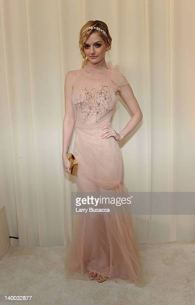 Model Lydia Hearst arrives at the 20th Annual Elton John AIDS Foundation Academy Awards Viewing Party at The City of West Hollywood Park on February...