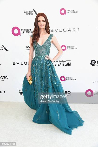 Model Lydia Hearst attends the 24th Annual Elton John AIDS Foundation's Oscar Viewing Party at The City of West Hollywood Park on February 28 2016 in...