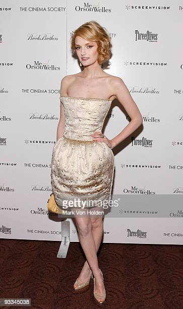 Model Lydia Hearst attends The Cinema Society with Screenvision Brooks Brothers screening of 'Me And Orson Welles' at Clearview Chelsea Cinemas on...