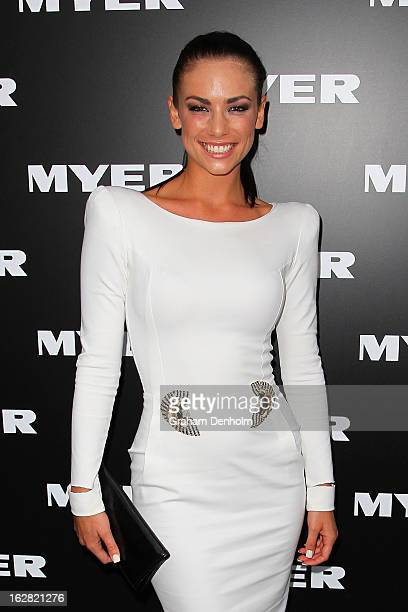 Model Maddy King arrives at the Myer Autumn/Winter 2013 collections launch at Mural Hall at Myer on February 28 2013 in Melbourne Australia
