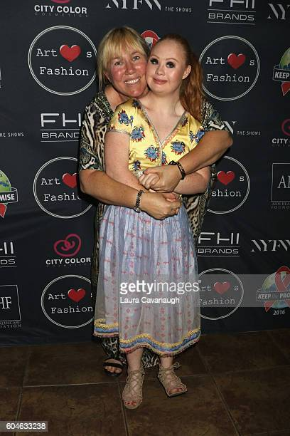 Model Madeline Stuart poses with her mother Rosanne Stuart backstage at Art Hearts Fashion September 2016 during New York Fashion Week The Shows on...