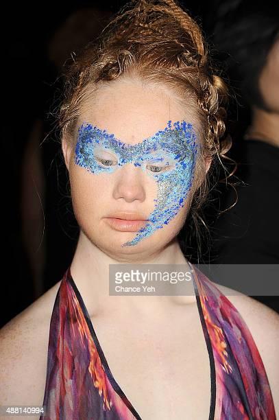 Model Madeline Stuart seen backstage of Hendrik Vermeulen show during Spring 2016 New York Fashion Week at Vanderbilt Hall at Grand Central Terminal...