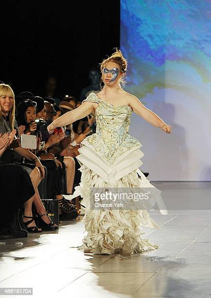 Model Madeline Stuart walks the runway at Hendrik Vermeulen show during Spring 2016 during New York Fashion Week at Vanderbilt Hall at Grand Central...