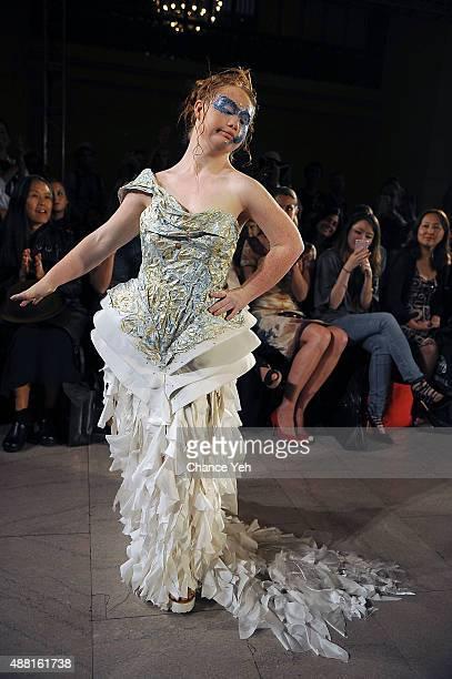 Model Madeline Stuart walks the runway at Hendrik Vermeulen show during Spring 2016 during New York Fashion Week at Vanderbilt Hall at Grand Central...