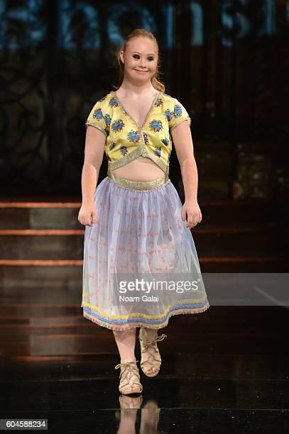 Model Madeline Stuart walks the runway wearing Rutu Bhonslé at Art Hearts Fashion September 2016 during New York Fashion Week The Shows on September...