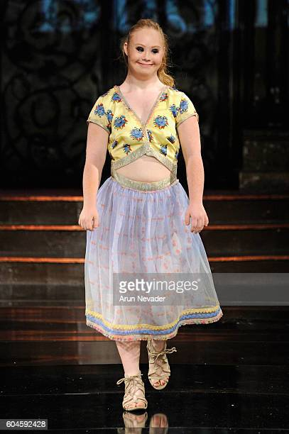 Model Madeline Stuart walks the runway wearing Rutu Bhonsle' at Art Hearts Fashion NYFW The Shows presented by AIDS Healthcare Foundation at The...